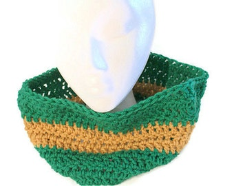Autumn Cowl,  Mens Infinity Scarf,  Green and Gold Cowl, Winter Cowl Scarf, Crochet Green Scarf, Stripe Cowl, Mens Cowl, Football Scarf