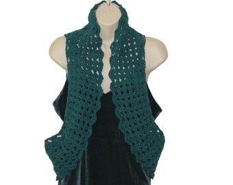 Womens Vest, Green Shrug, XL Sweater Vest, Shrugs Boleros, Sleeveless Shrug, Womens Bolero, Lacy, Plus Size Bolero, Plus Size Vest