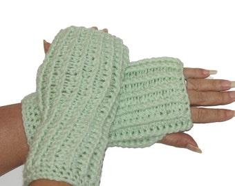 Mint Mittens, Mint Gloves, Fingerless Mittens, Fingerless Gloves, Hand Warmers, Fingerless Mitts, Crochet Mittens, Knit Mittens