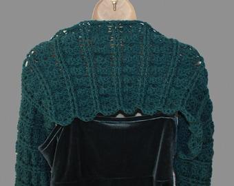 Teal Shrug, XL Bolero, Womens Plus Size, Plus Size Sweater, Plus Size Shrug, Womens Green Sweater, Long Sleeve Shrug, Trendy Shrug,