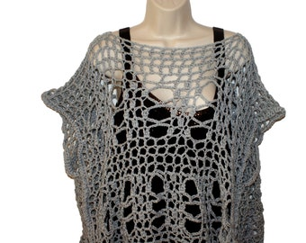 Cotton Top, Womens Shirt, Plus Size Shirt, Womans Blouse, Gray Tee, Crochet Top, Gray Dolman, Grunge Shirt, Torn Look Tee, Cotton Summer Top