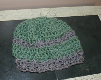 Green baby girl hat, Crochet Baby Cloche, Toddler Snow Hat, Infant Beanie, Baby Winter Hat, Baby Snow Hat, Crochet Cloche, Green Gray