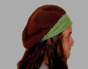 Green Crochet Hat, Womens Beret, Winter Tam, Winter Fashion Hat, Crochet Beret, Brown Beanie, Green Beanie, Womens Crochet Toque, Brown Hat