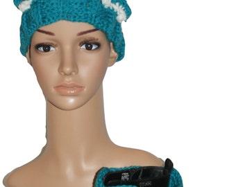 Hat Boot Cuffs Set, Pom Hat, Trendy Hat, Ski Hat, Classic Winter Hat ,Blue Hat, Bobble Cap, Crochet Womens Hat, Winter Hat, Pom Pom Hat
