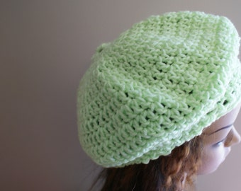 Green Crochet Hat, Womens Beret, Spring Tam, Spring Fashion Hat, Summer Hat, Crochet Beret, Beanie, Lime Green Beanie, Womens Hat