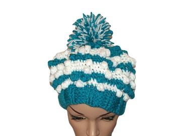 Trendy Hat, Ski Hat, Classic Winter Hat , Hipster Cap, Blue Hat, Puffy Hat, Bobble Cap, Crochet Womens Hat, Winter Hat, Pom Pom Beanie