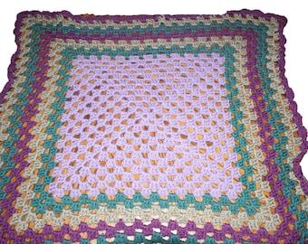 Crib Afghan, Crochet Baby Afghan, Heirloom Blanket, Granny Afghan, Purple Baby Blanket, Granny Square Afghan, Heirloom Afghan, Baby Afghan