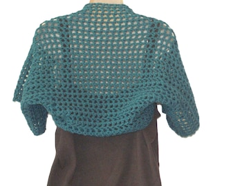 Teal Shrug, Womens Vest, XL Bolero, Teal Bolero, Plus Size Shrug, Women Plus Size, XL Shrug, Shrugs Boleros, Short Sleeve Shrug, Sizes SM-3X