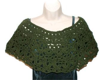 Crochet Capelet, Green Cape, Autumn Fashion Wrap, Green Cloak, Woman Poncho, Spring Capelet, Womens Shawl, Crochet Shawl, Womens Shawlet
