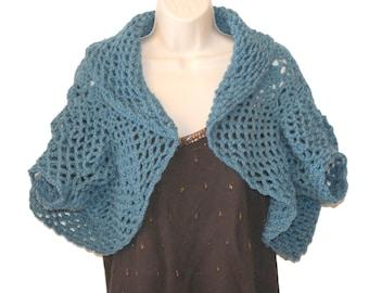 Blue Shrug, Crochet Bolero,Womens Vest, Crochet Blue Sweater, Plus Size Shrug, Womens Plus Size, Womens Sweater, Shrug Vest, Trendy Shrug