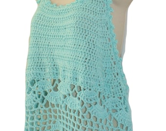 Cotton Tank Top, Beach Cover Up, Racerback Top, Swimsuit Cover, Festival Top, Blue Tank, Aqua Camisole, Plus Sizes, Crochet Tee, Summer Top