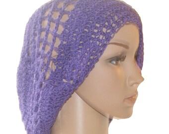 Womans Crochet Hat, Cotton Ladies Hat, Purple Hat, Summer Cloche Hat, Cotton Summer Hat, Cotton Slouch Hat, Crochet Cotton Hat, Purple Tam