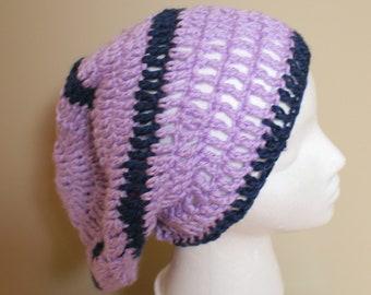 Purple Crochet Hat, Purple Stripe Cap, Slouch Beanie, Slouchy Womens Hat, Dreadlocks Hat, :Gaming Hat, Purple Girls Hat, Teen Hat, Teen Tam