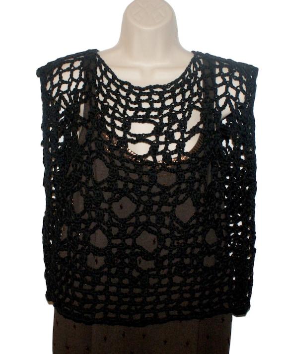 d04a5ac86d8 Black Cotton Shirt Crochet Top Plus Size Shirt Dolman Top
