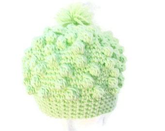 Mint Green Hat, Trendy Hat, Ski Cap, Classic Winter Hat , Hipster Cap, Green Snow Hat, Puffy Hat, Green Bobble Cap, Crochet Green Beret