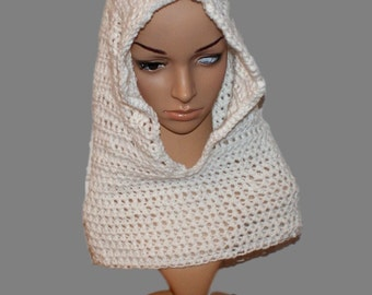 Cowl Scarf, White Scoodie, Hooded Cowl, Womans Hooded Cowl, Infinity Scarf, Womens Scarf Hood, Fashion Neck warmer, Winter Hood Scarf