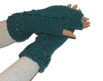 Warmers Women, Fingerless Mittens, Womens Mittens, Winter Mittens, Cabled Mittens, Crochet Mittens, Wrist Warmers Women, Teal Gloves