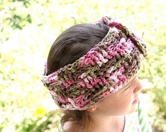 Womens Crochet Ear Warmer Headband,  Pink Camo Headband, Adjustable Headband, Ski Band, Workout Headband, Womens Hairband, Winter Hair