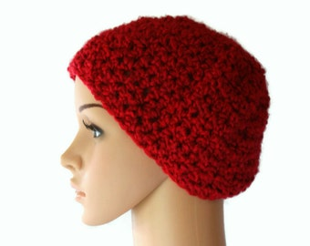 Ladies Red Beret, Womens Winter Beanie, Autumn Fashion Hat, Valentine Hat, Crochet Beanie, Womens Tam, Womens Beanie, Winter beanie