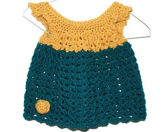 Crochet Baby Dress, Infant Pinafore, Teal Baby Dress, Girl Clothing, Frilly Baby Frock, Cute Kids Clothes, Infant Clothing, Newborn Clothes