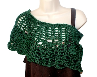 Crochet Capelet, Bridal Capelet, Green Cloak, Bridesmaid Shawl, Womens Poncho, Womens Shawl, Crochet Shawl, Womens Shawlette, Spring Poncho