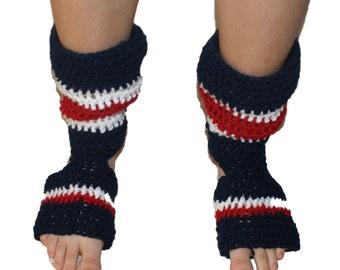 Yoga Socks, Pilates Socks, Dance Socks, Exercise Socks, Footwear, Pedicure Socks, Toe-less Socks, Flip Flop Socks, Navy Hockey Socks