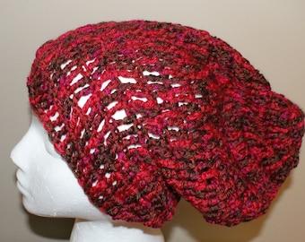 Womens Beanie, Red Slouch Hat, Slouchy Cap, Mens Crochet Hat, Womens Fashion Hat, Mens Stripe Cap, Dread Hat, Red Beanie, Winter Beanie