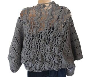 Crochet Bolero, Evening Shrug, Womens Bolero, Lacy Shrug, Gray Bolero, Womens Shrug Jacket, Elegant Shrug, Plus Size Shrug, Bride Shrug