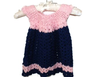 Easter Baby Dress, Crochet Newborn Dress, Baby Pinafore, Spring Baby Dress, Pink Baby Dress, Pink Navy Dress, Infant Outfit, Baby Frock