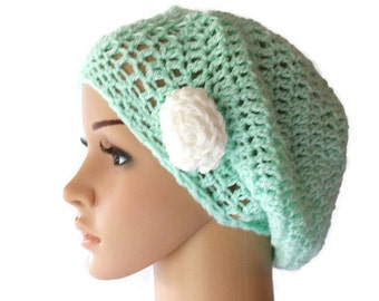 Green Crochet Hat, Womens Beret, Spring Tam, Spring Fashion Hat, Summer Hat, Crochet Beret, Spring Beanie, Lime Green Beanie, Womens C