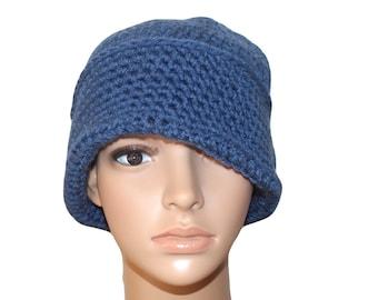 Crochet Hat, Winter Hat, Cloche Hat, Flapper Hat, Hat Crochet, Womens Cloche, Blue Hat, Blue Cloche, Classy Hat, Formal Hats, Cossack Hat