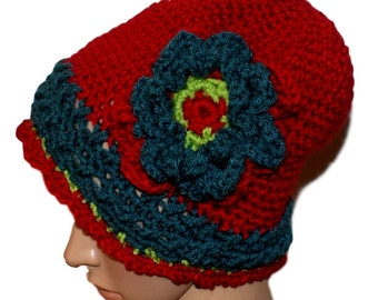 Red Slouch Hat, Woman Hat, Sundance Inspired, Beanie Hat, Whimsical Hat, Winter Toque, Crochet Hat, Red Cloche, Warm Winter Toque, Teal Hat