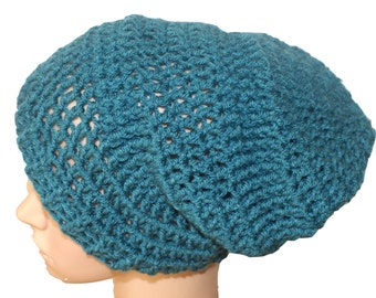 Teal Winter Hat, Teal Hat, Womens Crochet Hat, Teal Slouch Hat, Beanie Hat, Mens Slouch, Dreadlocks Hat, Mens Toque, Ski Hat, Slouch Hat