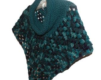 Poncho Woman, Capelet Woman, Womens Cape, Cowl Neck Poncho, Women Crochet Poncho, Roll Neck Poncho, Collared Poncho, Teal Cape, Poncho