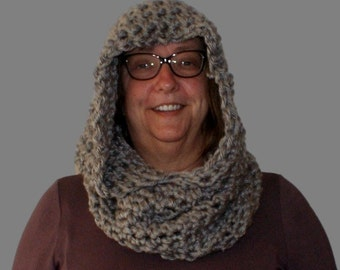 Cowl Scarf, Gray Scoodie, Hooded Cowl, Womans or Mens Hooded Cowl, Infinity Scarf, Womens Scarf Hood, Mans Hood, Knight Hood, Mens Cowl Hood
