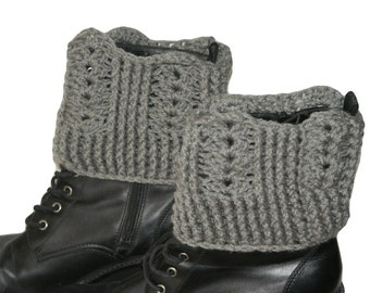 Womens Boot Cuffs, Crochet Boot Toppers, Leg Cuffs, Womens Boot Socks, Gray Boot Cuffs, Womens Leg Warmers, Fall Fashion Boot Toppers