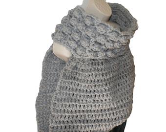 Gray Cowl, Cross Body Vest, Huntress Vest, One Armed Vest, Crochet Vest , Asymmetrical Cowl, Crossbody Scarf, Gray Sweater,