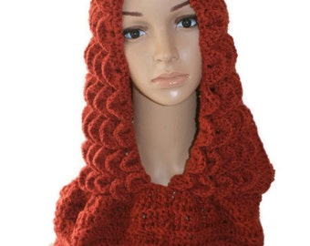 Cowl Scarf, Brown Scoodie, Hooded Cowl, Womans Hooded Cowl, Infinity Scarf, Womens Scarf Hood, Fashion Neck warmer, Winter Hood Scarf