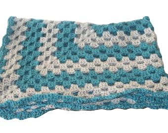 Teal Baby Blanket, Gray Baby Afghan, Pram Blanket, Baby Blanket Boy, Crochet Baby Blanket, Baby Blanket, Crib Blanket, Afghan Blanket