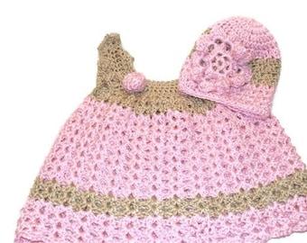 Crochet Baby Dress, Christening Dress,Newborn Clothes, Baby Girl Clothing, Pink Baby Dress, Pink Easter Dress, Summer Baby Dress