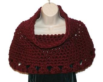 Womens Shawl, Crochet Capelet, Chunky Shawl, Cowl Neck, Warm Shawl, Womens Poncho, Red Poncho, Wedding Capelet, Shoulder Warmer