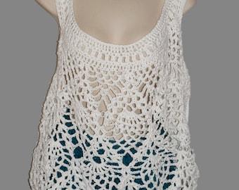 Crochet Top, Sleeveless Top, White Tank, Summer Crochet, Summer Blouse, Cotton Tunic, Womens Summer Shirt, Pineapple Crochet, Sun Top,