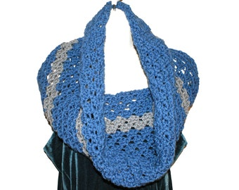 Women's Cowl, Blue Crochet Cowl,  Blue Infinity Scarf,  Winter Neckwarmer, Blue Crochet Capelet, Cowl Neck Scarf, Winter Fashion Scarf