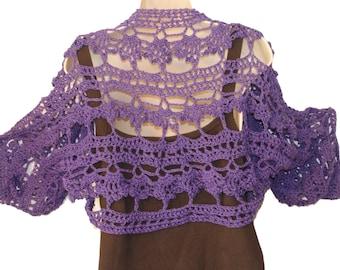 Purple Shrug, XL Bolero, Full Figure Shrug, Plus Size Shrug, Cotton Shrug, Elegant Shrug, Formal Bolero, Bridesmaids Shrug, Bridal Shrug