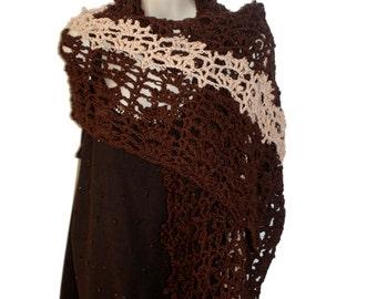 Brown Shawl, Cotton Shawl, Dressy Shawl, Elegant Shawl, Shoulder Wrap, Lace Shawl, Woman Shawl, Bridal Wrap, Bride Shawl, Bridesmaid Shawl