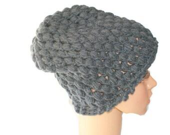 Black Slouch Hat, Chunky Winter Hat, Black Slouch Cap, Mens Black Hat, Chunky Knit, Mens Slouch Hat, Dread Cap, Chunky Black Hat