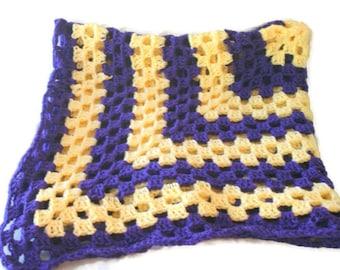 Crib Afghan, Crochet Baby Afghan,  Purple Blanket, Crochet Granny Afghan, Purple Baby Blanket, Yellow Afghan, Granny Square Afghan, Af