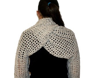 Crochet Shrug, Oatmeal Bolero, Long Sleeve Shrug, Plus Size Shrug, Oatmeal Shrug, Womens Scarf Shrug, Ivory Bolero, Twisted Cowl Shrug