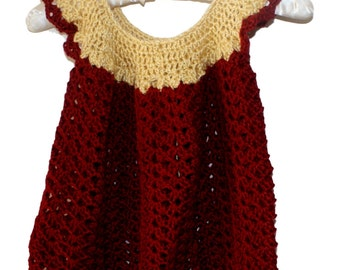 Crochet Baby Dress, Flower Pinafore, Baby Girl Dress, Christmas Baby dress, Red Baby Frock, Baby Dress, Baby Pinafore, Autumn Baby Dress