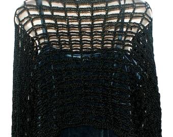 Crochet Bolero, Evening Shrug, Womens Bolero, Black Shrug, Black Bolero, Womens Shrug Jacket, Long Sleeve Shrug, Plus Size Shrug,